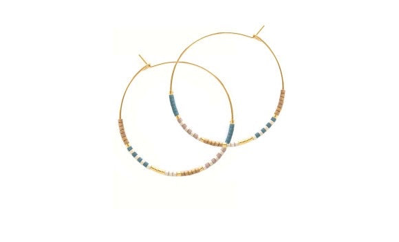 Beaded Hoop Earrings Neutral and Blue