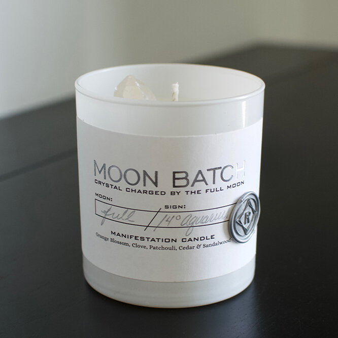 Crystal Charged Moon Batch Candle- White