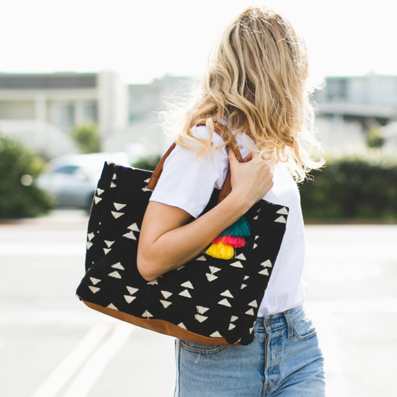Multi Arrows Black Tote