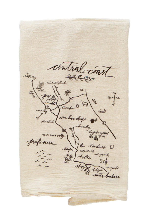 Calligraphy Map Central Coast Tea Towel