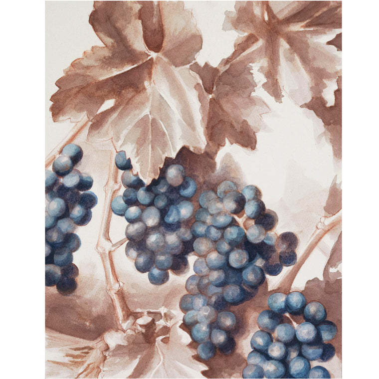 Blue Grapes Wine Art