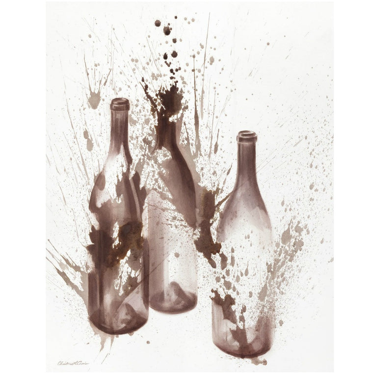 Three Bottles Wine Art Print