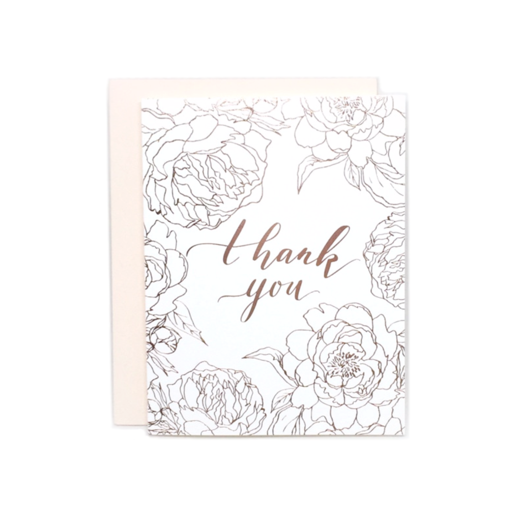 Foiled Peony Thank You Card