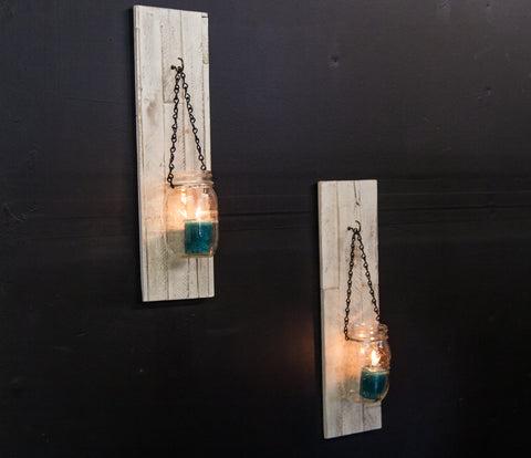 mywoodwall DIY candle holder mason jars reclaimed wood