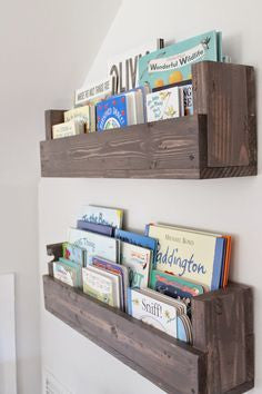 Kids Room Organization Wood Shelves