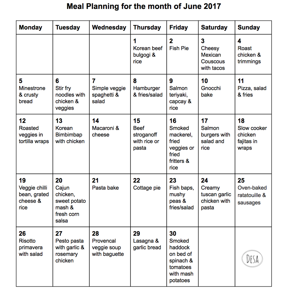 Meal Plan for June 2017 - Mum blog at Desa Life