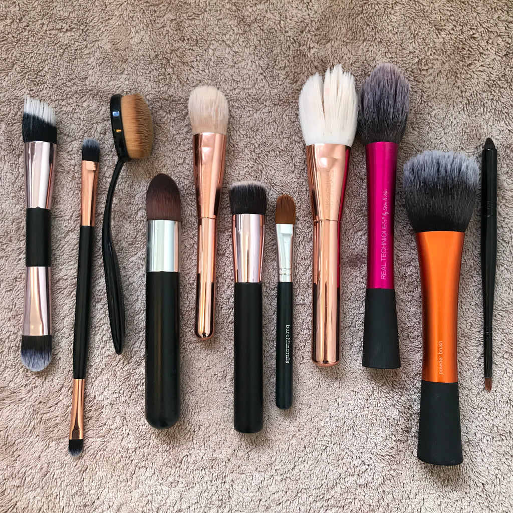 Lay your brushes on a towel to dry