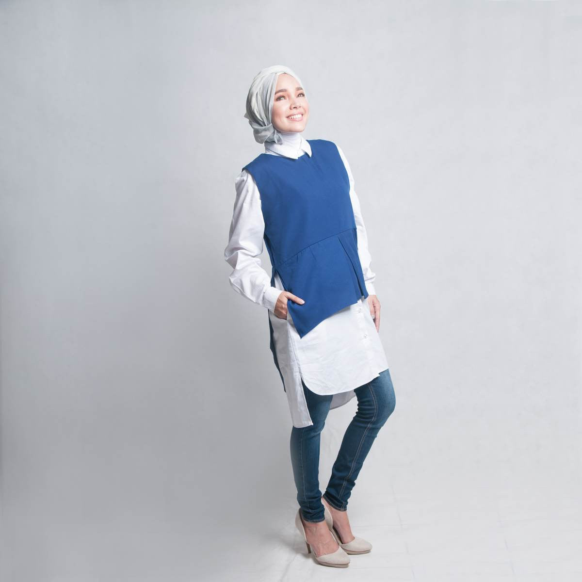 Modesty clothing Afrin double tee top in blue at Desa Life