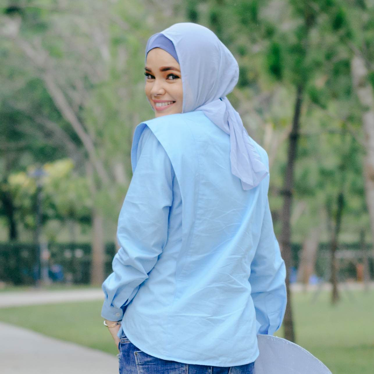 Blue Anisah blouse chic hijab modesty clothing available at Desa Life