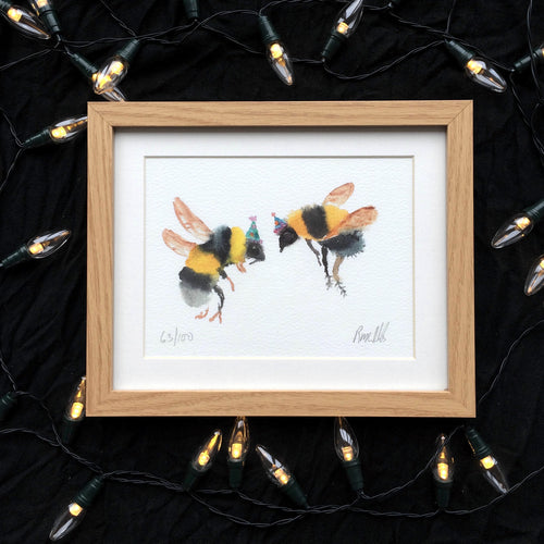 Party bees watercolour print