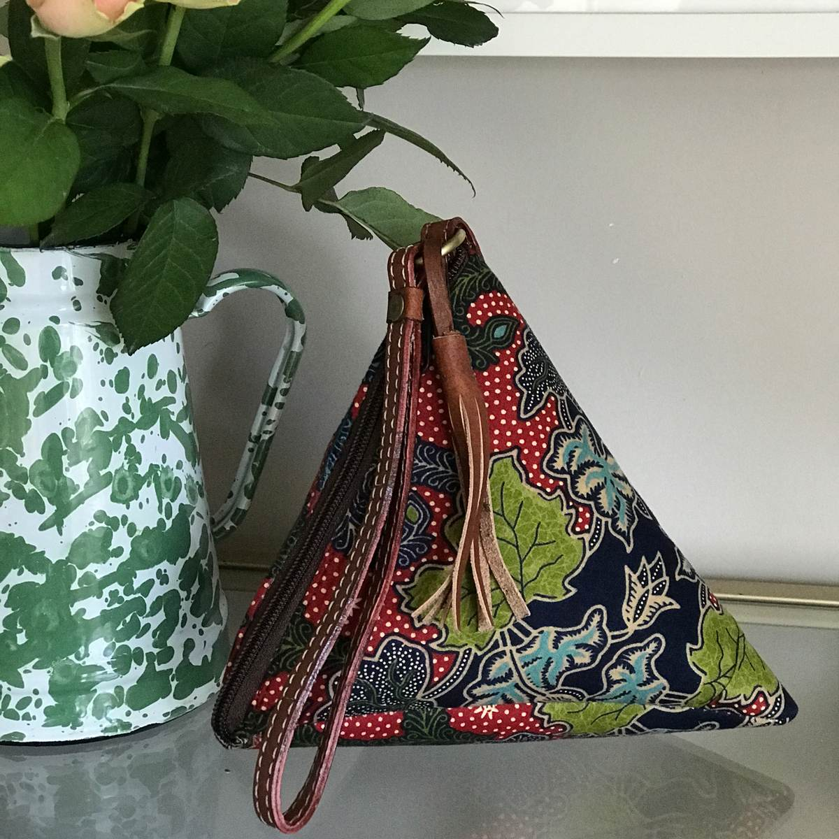 Bintang triangle batik clutch bag