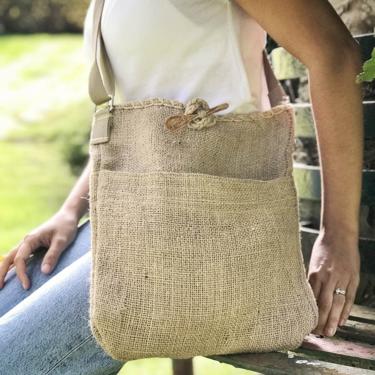 Indigo jute shoulder bag