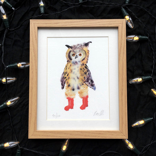 Owl in boots watercolour print