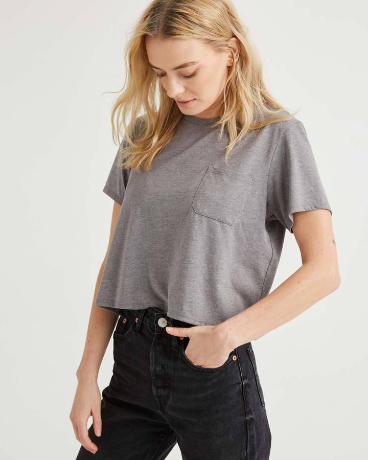 Richer Poorer Boxy Crop Heather Grey Tee