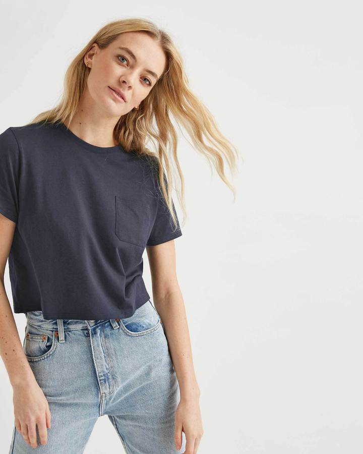 Richer Poorer Boxy Crop Blue Nights Tee