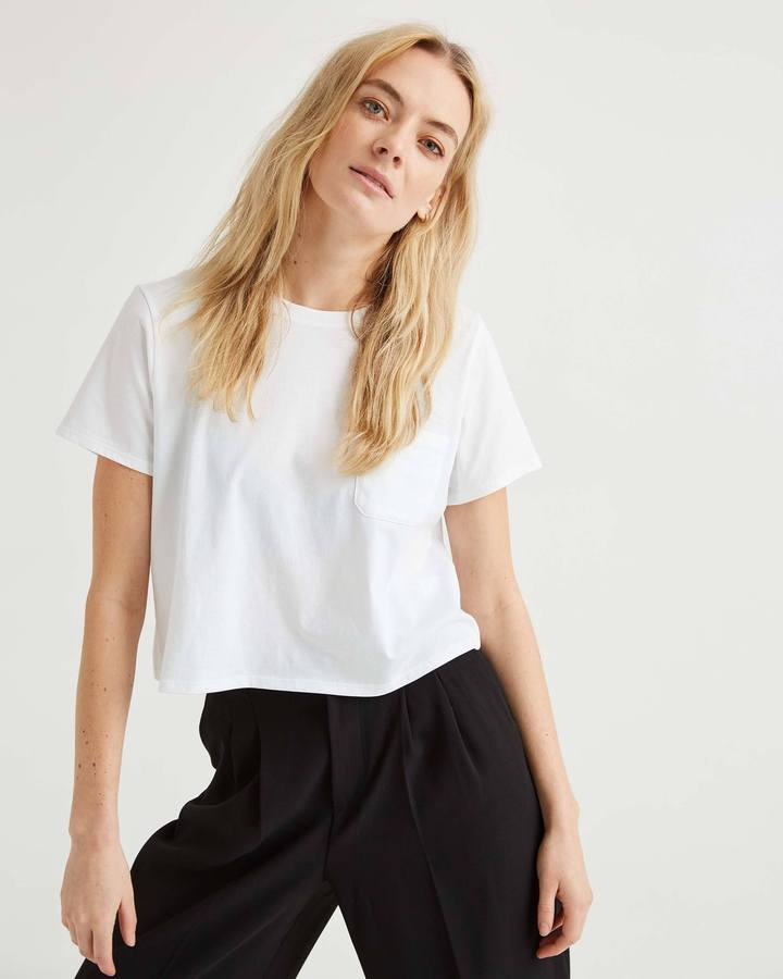 Richer Poorer Boxy Crop White Tee
