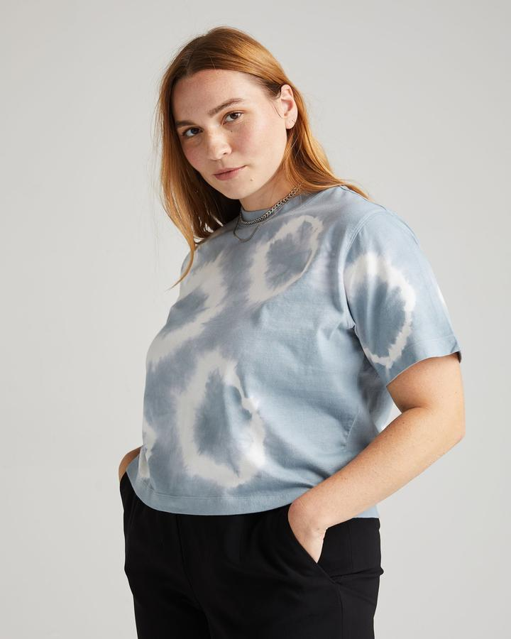 Richer Poorer Relaxed Crop Blue Mirage Tie Dye Tee