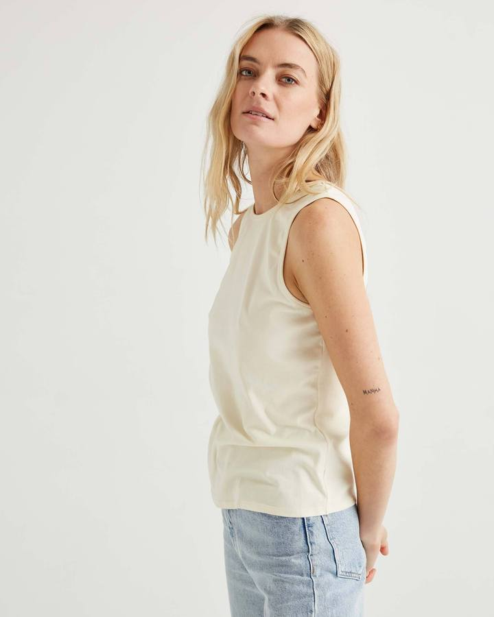 Richer Poorer White Sage Fitted Racer Front Tank