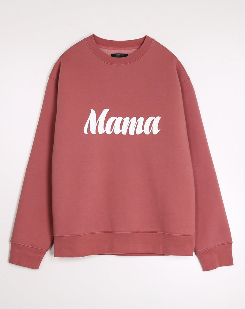 "Brunette the Label The ""MAMA"" Cursive Classic Crew Neck Sweatshirt 