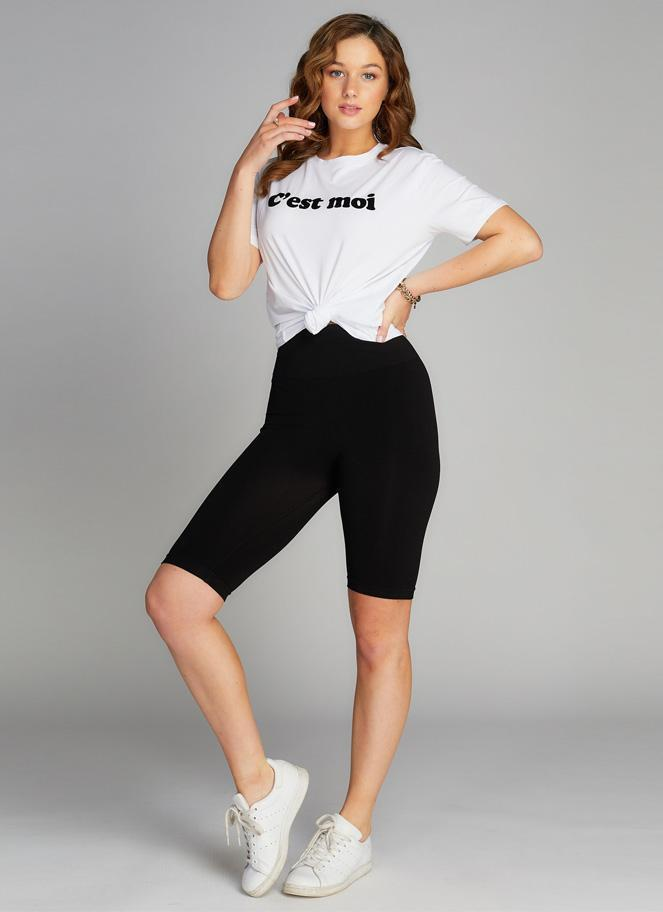 C'est Moi Black High Waisted Long Shorts
