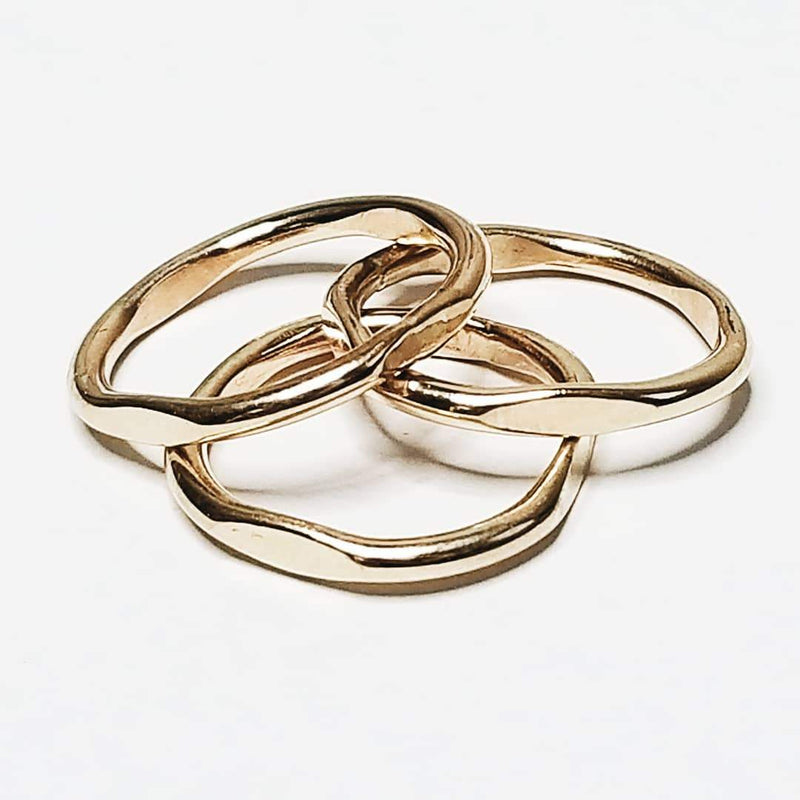 Miskwill Gold Cushion Stacking Rings