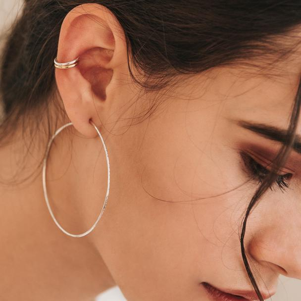 Kara Yoo Pull-Me-Through Large Silver Round Hoops