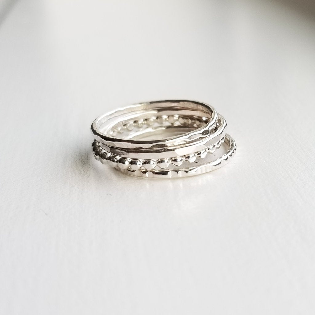 Miskwill Silver Droplet Ring Stack
