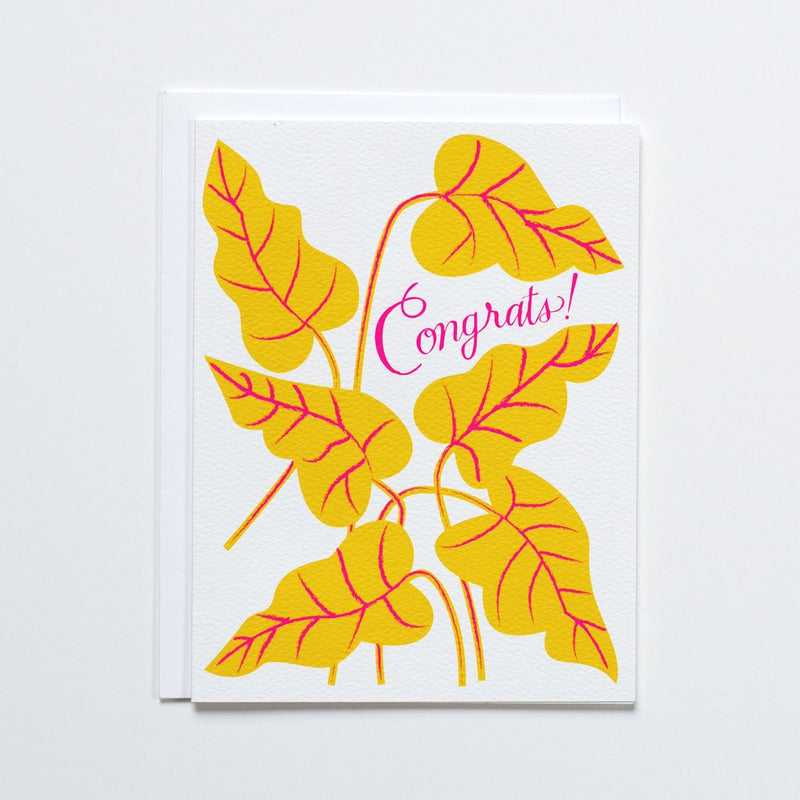 Banquet Yellow and Neon Pink Congrats Card