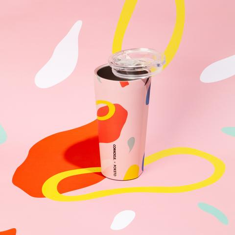 Corkcicle X Poketo Pink Party 16oz Tumbler