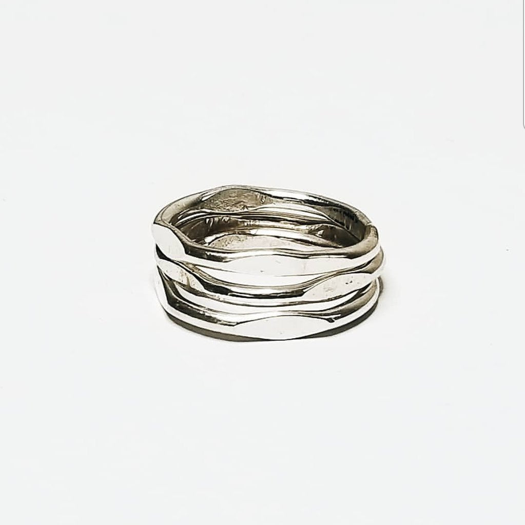 MiskWill Silver Cushion Stacking Rings