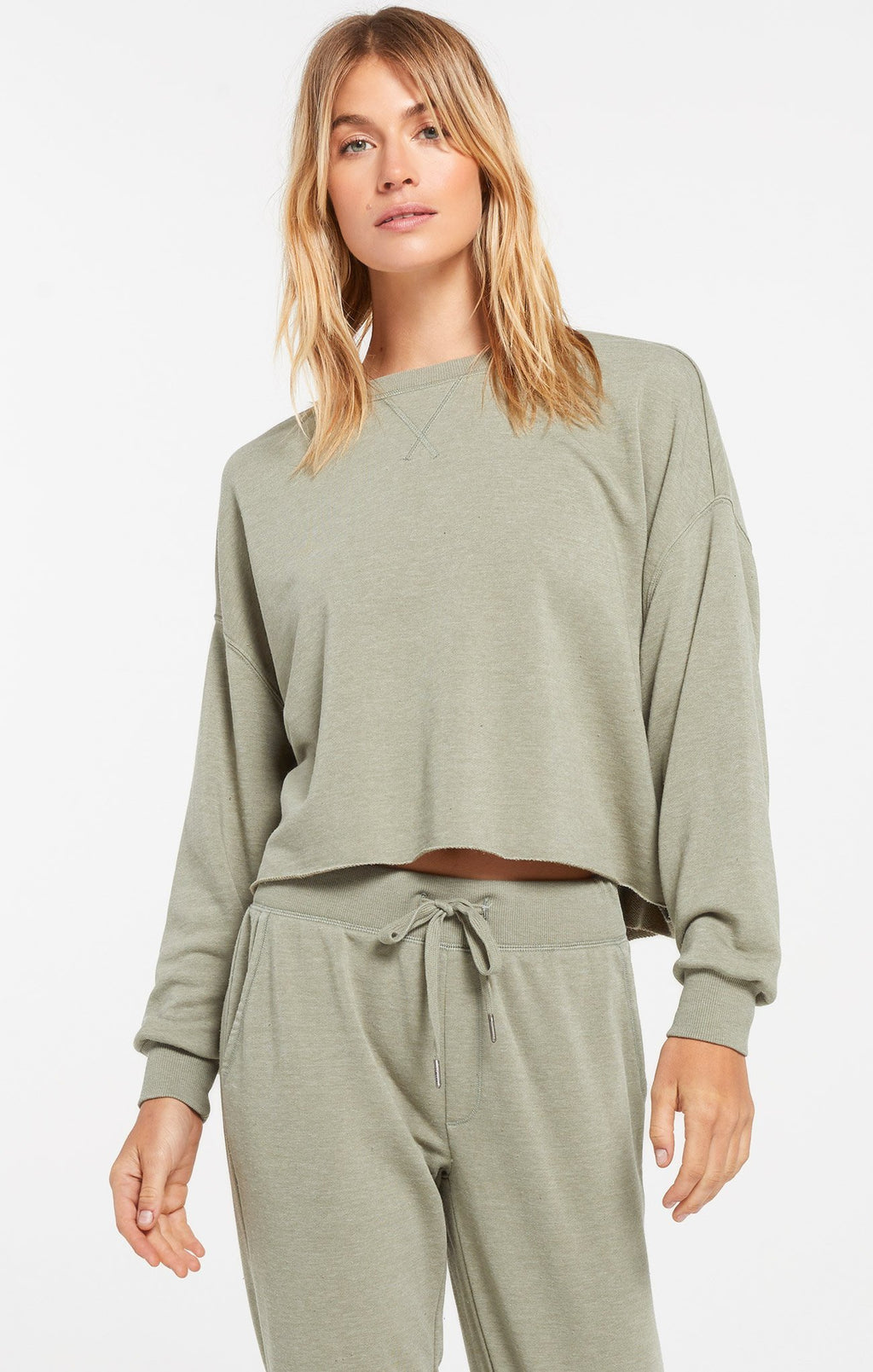 Z Supply Izzy Loop Meadow Green Terry Pullover