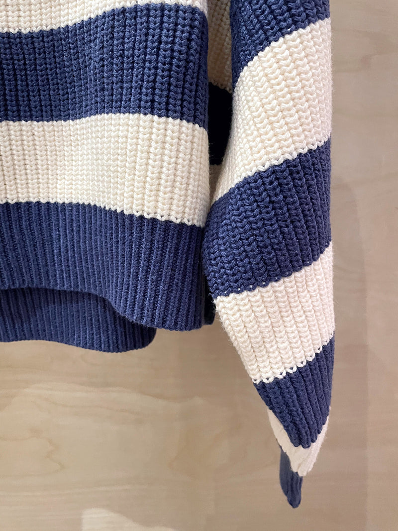 The Korner Navy & White Striped Sweater