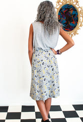 Vintage 1980's Abstract Print Pleated Midi Skirt