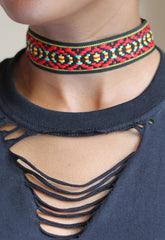 Aztec patterned choker jewellery