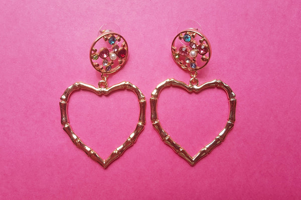 Bamboo Heart Drop Earrings