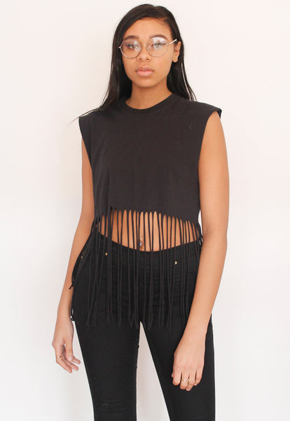 Black Fringed Tassel Crop Top