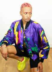 Vintage Linda Collection Bright Picasso Print Bomber Jacket