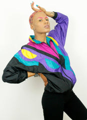 Vintage SLADE Colour Block 90s Nylon Casual Shell Jacket