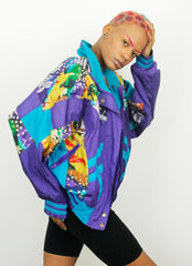 Vintage East West Crazy Pattern 90s Nylon Casual Shell Jacket
