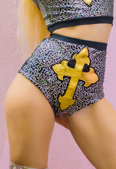 Crossfire Sequin Hot Pants with Gold Cross Applique