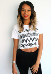 LFF Boutique Independent branded black and white printed crop top with Egyptian eye print