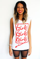 Girls Girls Girls Print T-shirt