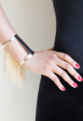 Gold Tassel Chain Cut Out Cuff
