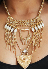 Gold Tribal Statement Necklace