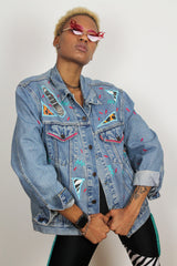 vintage denim hand painted jacket