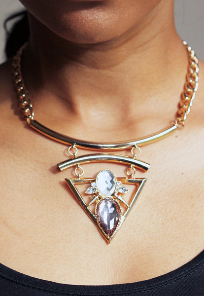 Statement Faux Crystal Triangle Necklace
