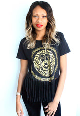 Lion Roar Gold Metallic Print Fringe Top