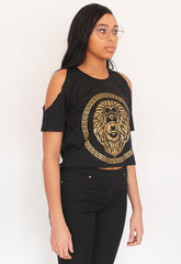 Limited Edition Cold Shoulder Lion Roar Gold Metallic Print Crop Top
