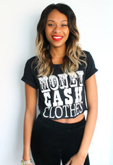 Money, Cash, Clothes Print Black Crop Top