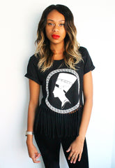 Nefertiti Head Print Fringe Black T-shirt